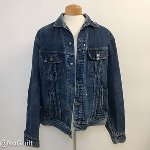 Vintage Lee Distressed Denim Jean Trucker Jacket